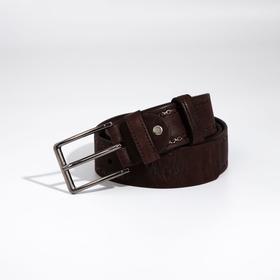 Ремень мужской, ширина 4 см, винт, пряжка металл, цвет коричневый