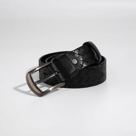 Ремень мужской, ширина 4 см, винт, плетёнка, пряжка металл, цвет чёрный
