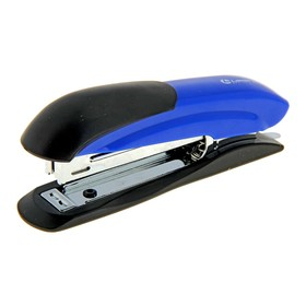 Степлер №10, 12 листов, Lamark Ulrich синий, металлический корпус, встроенный антистеплер, индикатор скоб