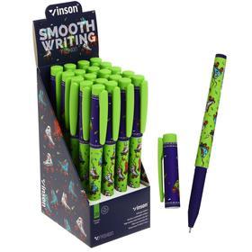 Ручка шариковая 0,7мм синяя масляная,Vinson корпус софттач с рисунком  (штрихкод на штуке)