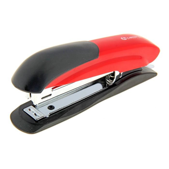 Степлер №10 до 12 листов Lamark Ulrich красный, металлический корпус, встроенный антистеплер, индикатор скоб