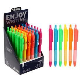 Ручка шариковая автоматическая 0,7мм синяя масляная,Vinson корпус МИКС (штрихкод на штуке)