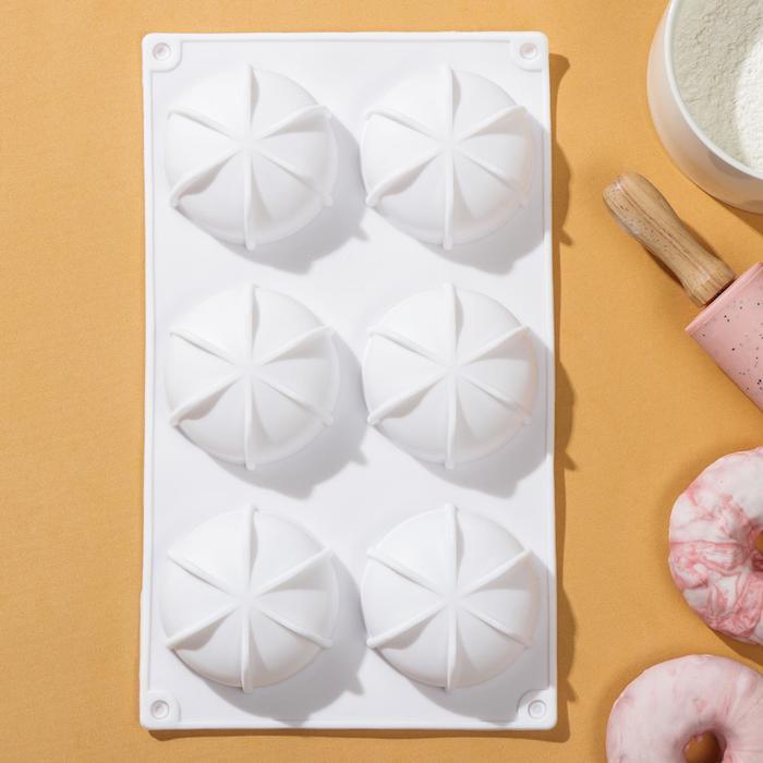 Форма для муссовых десертов и выпечки Доляна «Вихрь», 29,8×17,5×2,5 см, 6 ячеек - фото 799588992
