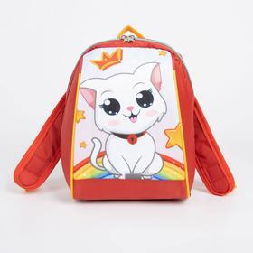 Рюкзак детский, отдел на молнии, цвет красный, «Кошечка»