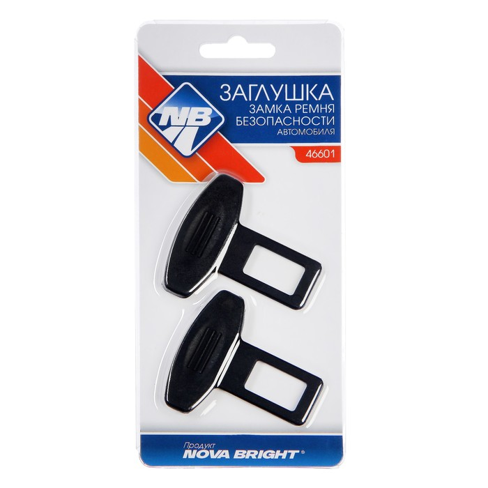 Заглушки замка ремня безопасности Nova Bright, пластиковые, набор 2 шт, микс - фото 234642