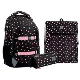 Рюкзак школьный, Kite 727, 42 х 29 х 20 см, эргономичная спинка, с наполнением: мешок для обуви, пенал, Polka Dots