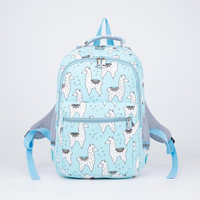 Рюкзак, 2 отдела на молниях, наружный карман, 2 боковых кармана, цвет голубой - фото 856379