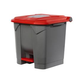 Контейнер мусорный  30л 350х380х460 серый с красной крышкой и педалью