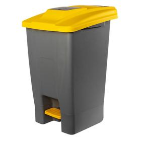 Контейнер мусорный 100л 390х480х750 серый с жёлтой крышкой  и педалью