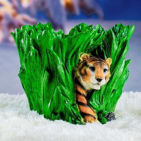 "Фигурное кашпо ""Тигр в траве"" 25х20см"