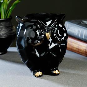 """Копилка """"Сова оригами"""" черная, 12х10х14см"""