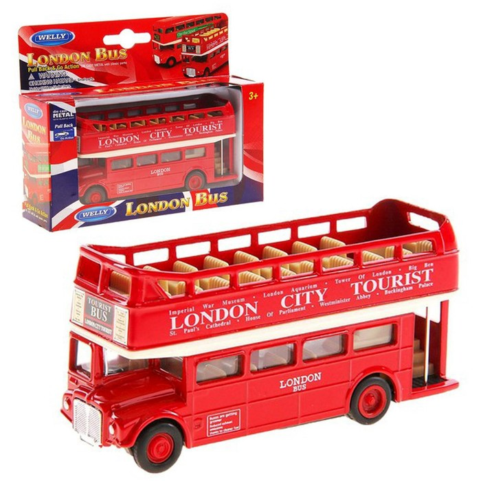 Модель автобуса London Bus открытый масштаб 1:34-39
