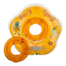 Круг для купания 3D, два сменных кольца, от 3 мес., цвет оранжевый