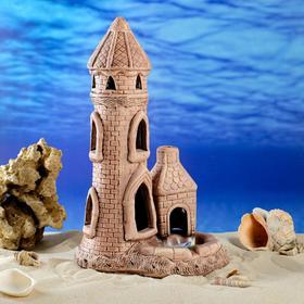 "Декорация для аквариума ""Башня"", коричневая, 32 см, микс"