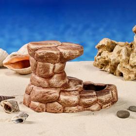 "Декорация для аквариума ""Развалины"", коричневая, 17х12х11 см, микс"