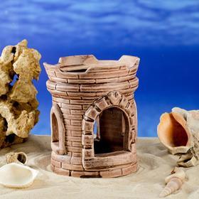 """Декорация для аквариума """"Широкая башня"""", коричневая, 14 см, микс"""