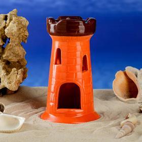 """Декорация для аквариума """"Башня одинарная"""", оранжевая, 15 см"""