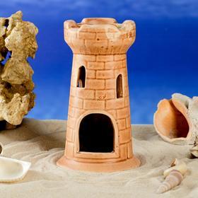 """Декорация для аквариума """"Башня одинарная"""", коричневая, 15 см, микс"""