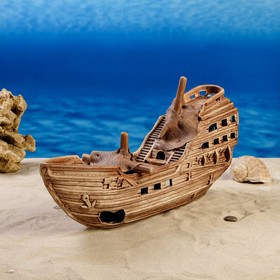 """Декорация для аквариума """"Затонувшее судно"""", 43х12х19 см"""
