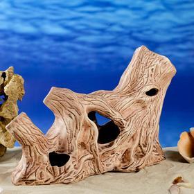 """Декорация для аквариума """"Коряга горизонтальная"""", коричневая, 31 см х 10 см х18 см, микс"""