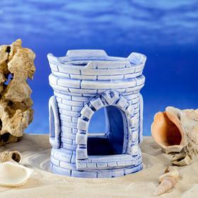 """Декорация для аквариума """"Широкая башня"""", синяя, 14 см"""