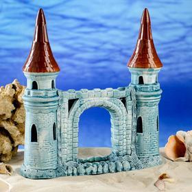 """Декорация для аквариума """"Башни с аркой"""", бирюзовая, 28 см"""