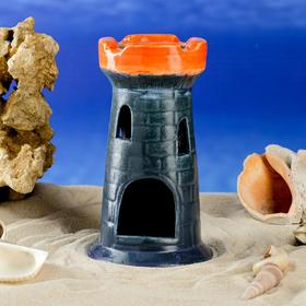 "Декорация для аквариума ""Башня одинарная"", тёмно-синяя, 15 см, микс"