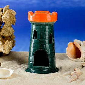 """Декорация для аквариума """"Башня одинарная"""", зеленая, 15 см, микс"""
