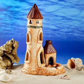 """Декорация для аквариума """"Башня"""", коричневая, разноцветная, 32 см, микс"""