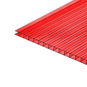 Сотовый поликарбонат, 4 мм, 2,1 × 6 м, УФ, красный