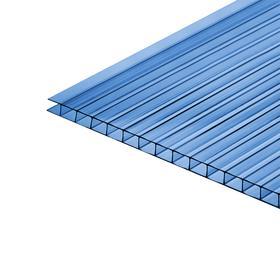 Сотовый поликарбонат, 4 мм, 2,1 × 6 м, УФ, синий