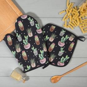 Набор кух.Этель Succulents варежка-прихватка 20х27см, прихватка 19х19см,100% х/л