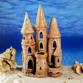 """Декорация для аквариума """"Подводный замок"""", коричневый, 41 см"""