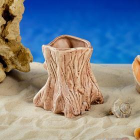 """Декорация для аквариума """"Пень"""", коричневая, 8х9х10 см, микс"""
