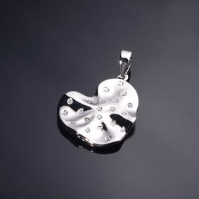 """Подвеска родированная """"Сердце"""" атмосфера, цвет белый в серебре"""