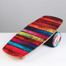 "Доска балансировочная балансборд ""Color Wood"" 76 х 35 х 1,5 см, диаметр валика 16 см"