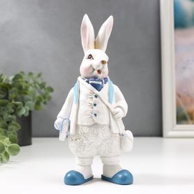 """Сувенир полистоун """"Заяц в белом жилетке и пиджаке, с сумкой"""" 22х10х7,5 см"""