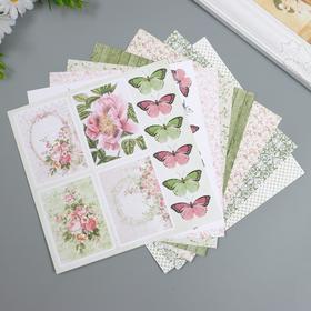 """Набор бумаги для скрапбукинга Craft Paper """"Чайная роза"""" 20х20 см, 8 листов"""