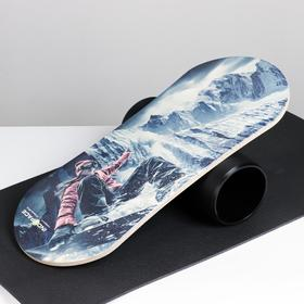 """Доска балансировочная балансборд с ковриком """"SNOWBOARD"""" 74х32 см"""
