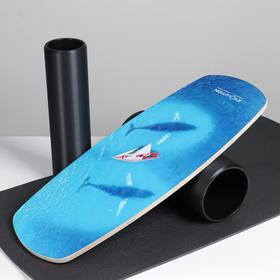 """Доска балансировочная балансборд с ковриком """"Экспедиция"""", с двумя роликами, 74х32"""