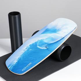 """Доска балансировочная балансборд с ковриком """"Стихия"""", с двумя роликами, 74х32 см"""