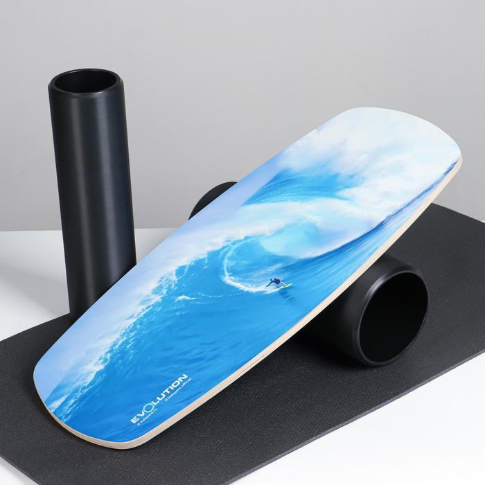 """Доска балансировочная балансборд с ковриком """"Стихия"""", с двумя роликами, 74х32 см - фото 860235"""