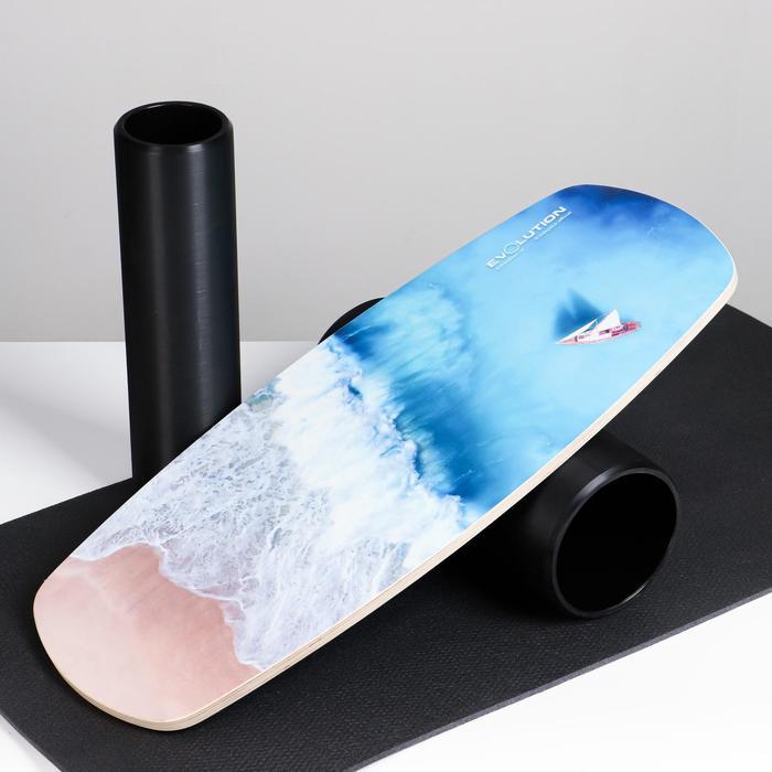 """Доска балансировочная балансборд с ковриком """"Шторм"""", с двумя роликами, 74х32 см - фото 860240"""