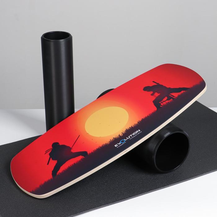 """Доска балансировочная балансборд с ковриком """"Нинзя"""", с двумя роликами, 74х32 см - фото 860245"""