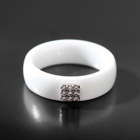 """Кольцо керамика """"Куб"""", цвет белый в серебре, 17 размер"""