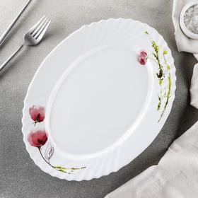 Блюдо овальное Доляна «Нежные маки», d=30 см