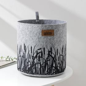 Корзина для хранения EcoPrint «Камыш», 8 л, 24×24×22 см, цвет светло-серый