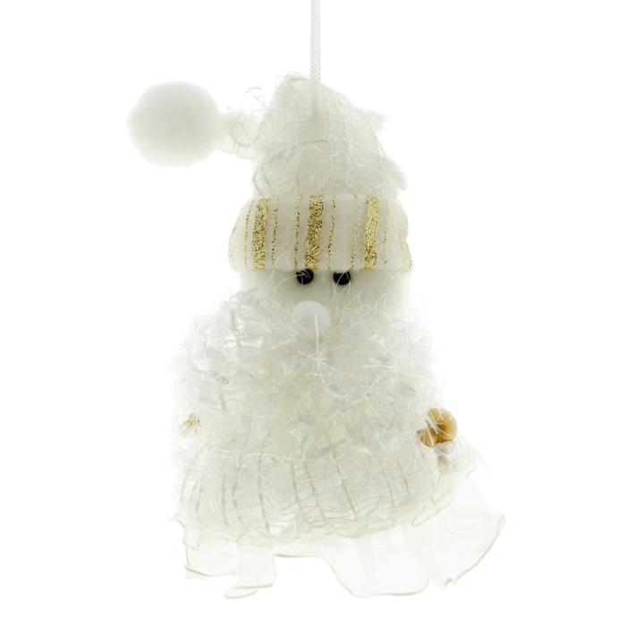 """Мягкая ёлочная игрушка """"Дед Мороз"""" кружевное платьице"""