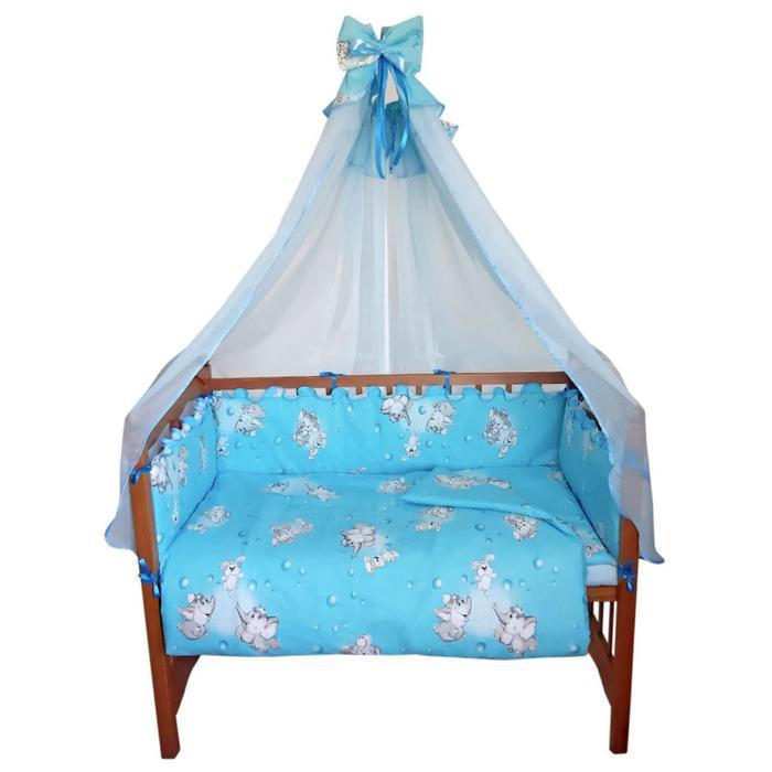 Комплект в кроватку «Слонята» (5 предметов), цвет голубой - фото 860603
