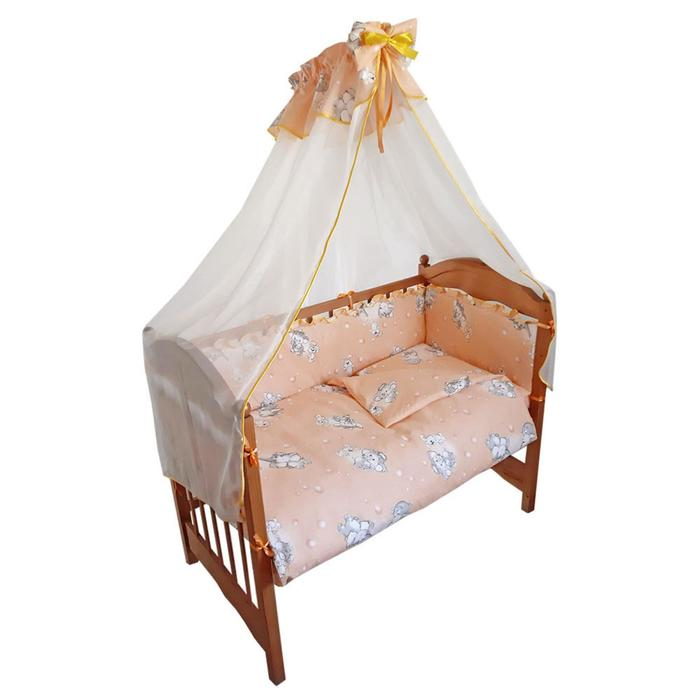 Комплект в кроватку «Слонята» (5 предметов), цвет персик - фото 860609